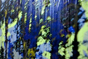 sunlight in blue forest, abstract mixed media art