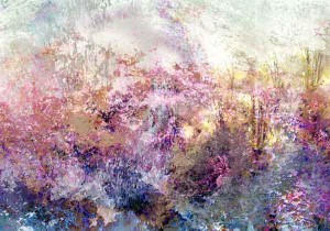 pink garden abstract landscape
