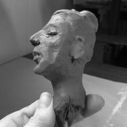 photography of woman's head portrait sculpture by ellen scobie, work in progress