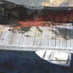 white, boat, dock, grey, weathered, red, blue, abstract, west coast,