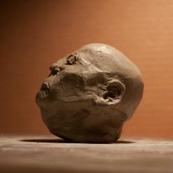 head study, clay sculpture