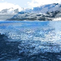 digital fine art printmaking by ellen scobie, ocean, sea, west coast, mountain