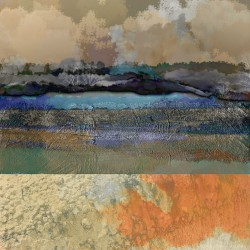 digital mixed media of landscape in blue and ochre with orange. Distinct texture of surfaces drawn from nature.