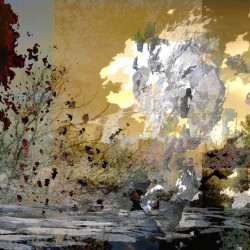 abstract landscape in blue, gold, silver and deep red colours, mixed media, fine art photography, mixed media photo-based, mixed media digital art, mixed media digital photographs, photo-based art