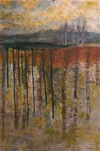 Landscape with blue mountain, lake and texture underground; mixed media photo-based painting on canvas