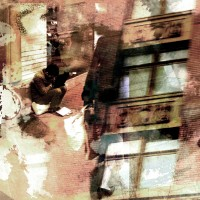 fine art photograph photomontage, contemporary photography, abstract city scene, mixed media, digital mixed media, bold composition, modern, layers, texture