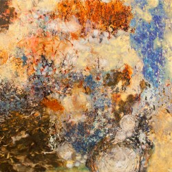 printmaking: digital aqueous inkjet print with acrylic paint glazing. Mixed media painting by ellen scobie,mixed media (photography and acrylic paint) abstract art
