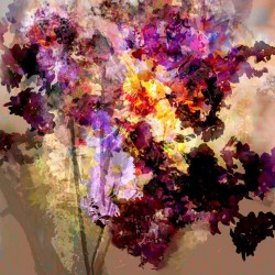 floral mixed media painting in purple, violet and yellow