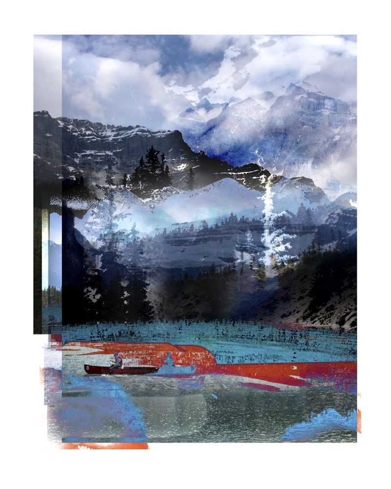 photography hyper-collage, banff mountains inspired