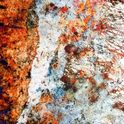 abstract painting by ellen scobie, orange, white, diagonal, nature inspired
