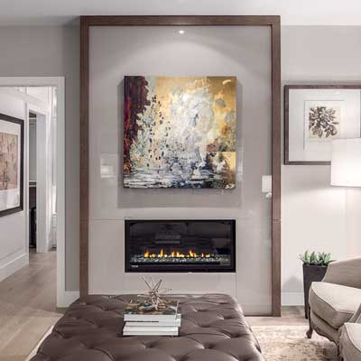 residential interior in neutral color with custom art