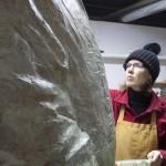 artist ellen scobie at work on statue