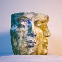 double portrait in clay, contemporary figurative sculpture by ellen scobie