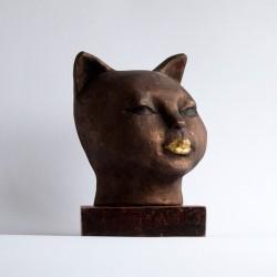 cat's head sculpture, contemporary figurative sculpture in terracotta