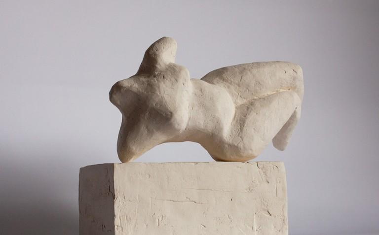 contemporary reclining nude sculpture in terracotta by vancouver sculptor ellen scobie