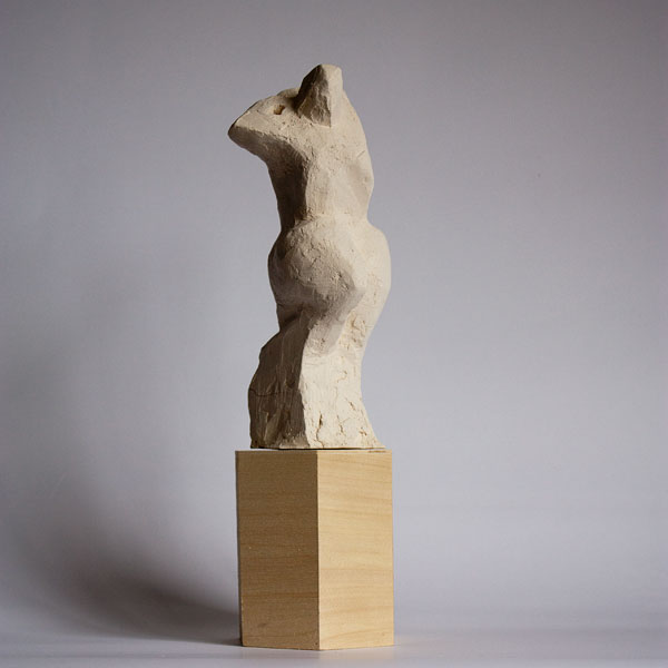 Abstract nude sculpture maquette reaching up, terracotta by ellen scobie