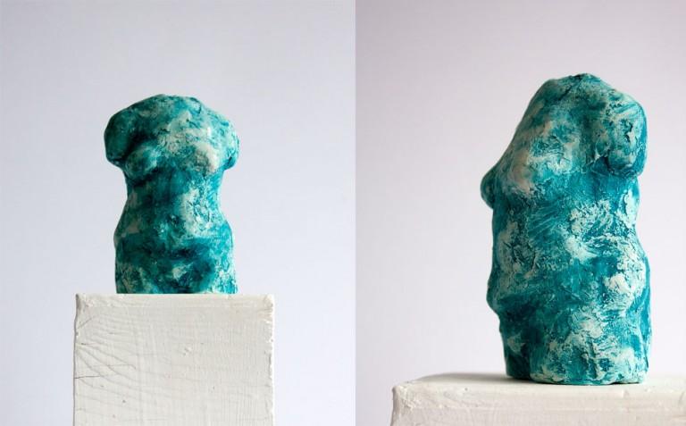 female torso sculpture maquette by vancouver artist ellen scobie