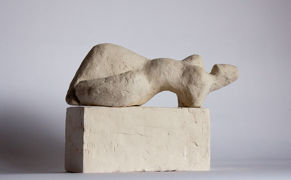reclining figure on base, contemporary figurative sculpture in terracotta by vancouver sculptor ellen scobie