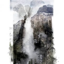 Abstract landscape original art featuring waterfall and mountain imagery by Ellen Scobie