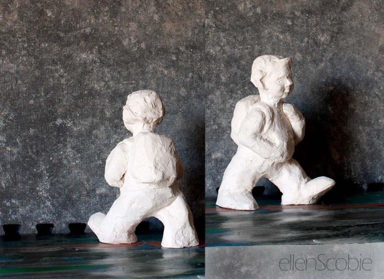 Off to school, terracotta sculpture maquette, Ellen Scobie