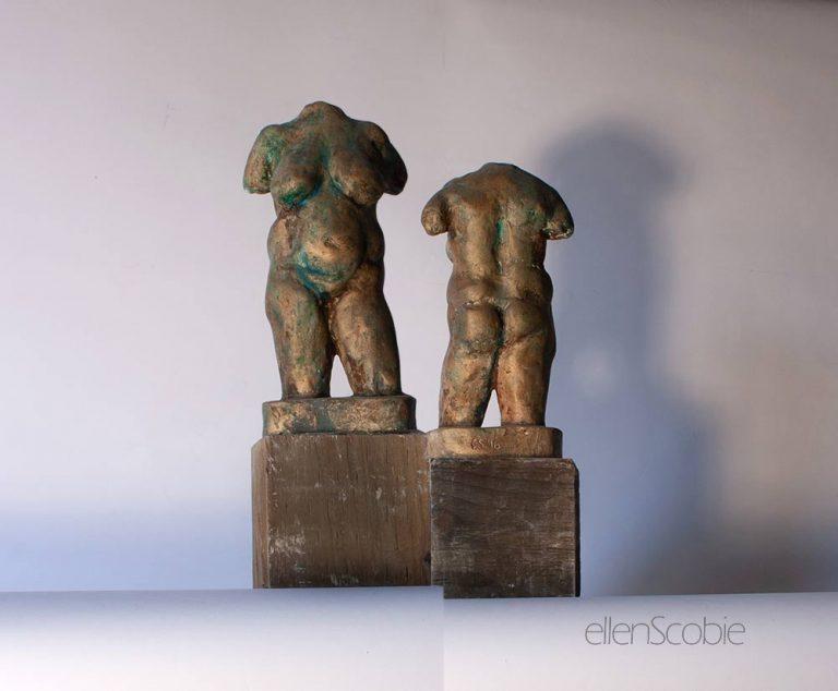 figurative-sculpture-ellen-scobie-torso bronze finish front and back views