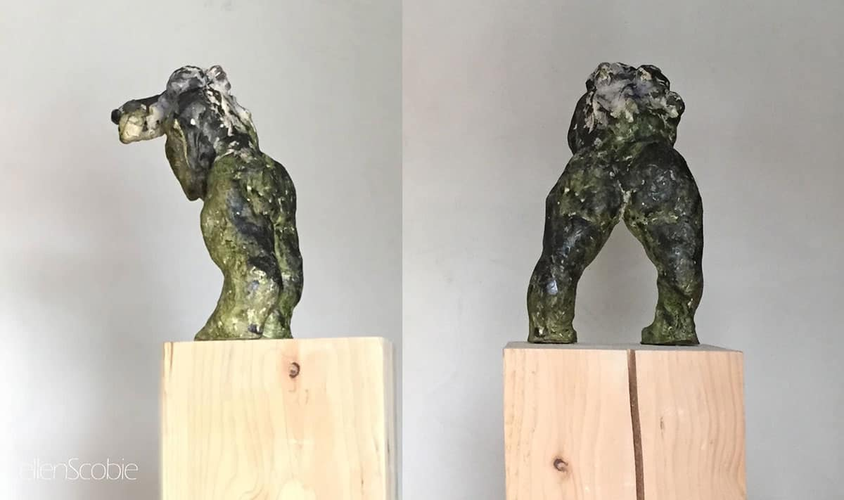 Ellen-Scobie,-Figure-with-Burden,-2019,-Polychrome-Terracotta-on-Wood-Base---Two-Views