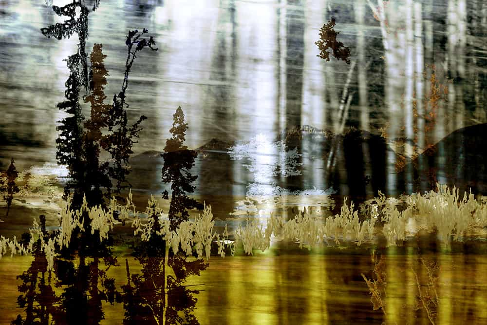 digital composition of abstract landscape with black and gold